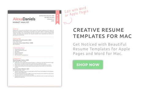 creative resume templates mac apple pages