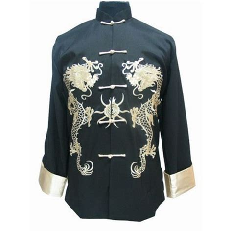 Black Back Embroidered Coat Size S M L 1 new arrival black bruce kung fu jacket s coat button embroidery tang suit size s m l xl