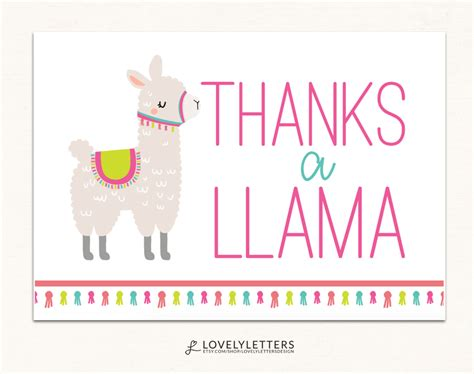Llama Thank You Cards lovely package add on designs invitation