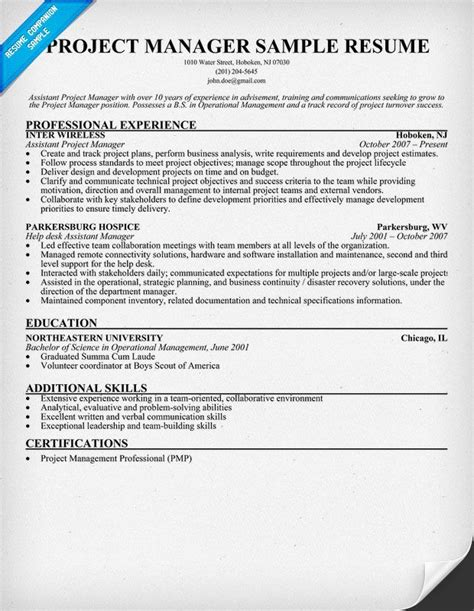 Project Manager Resume Sample (resumecompanion.com)   AMG
