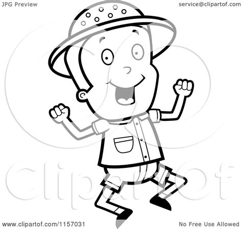 safari person coloring page cartoon clipart of a black and white safari boy jumping