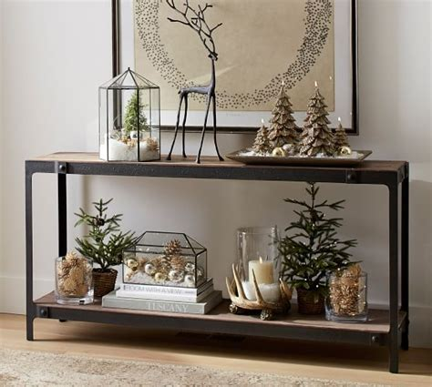 barn console table clint reclaimed wood console table pottery barn