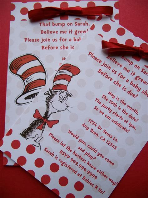 Cat In The Hat Baby Shower Invitations by Dr Seuss Cat In The Hat Baby Shower Or Birthday Invitation