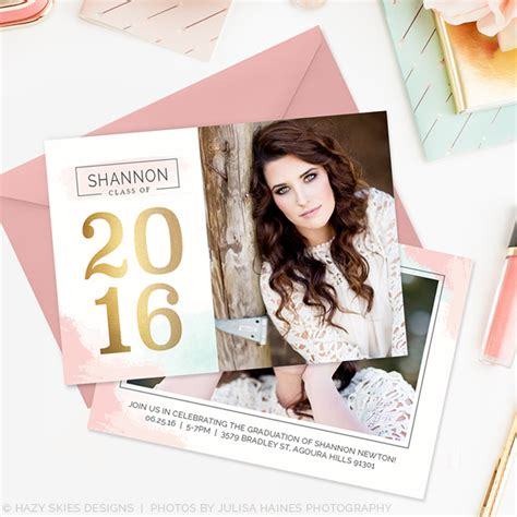 graduation announcements templates for photographers senior graduation announcement template cotton candy