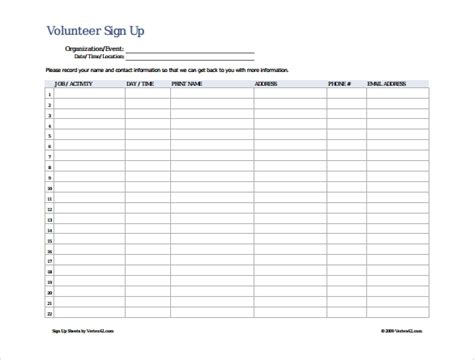 sign in and sign up sheets