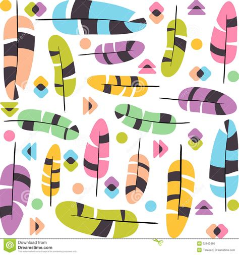 ethno pattern white ethno feathers seamless pattern stock illustration image