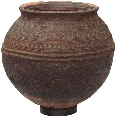decorated cooking urn nigerian african terracotta pottery storage jar impressed