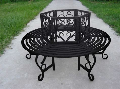 wrought iron tree bench oakland living wrought iron scroll tree bench in hammer