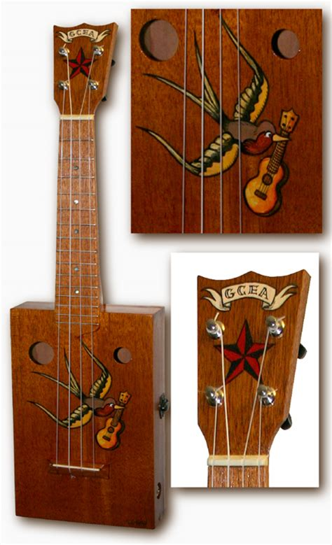 tiki king ukulele gallery swallow tattoo cigarbox ukulele
