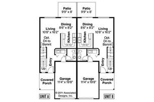 Floor Plans For Duplexes by Craftsman House Plans Toliver 60 020 Associated Designs