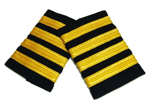 Pangkat Pilot 4 epaulet gold on navy stripes with velcro eplgnv