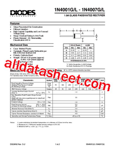 diode rectifier bridge datasheet 1n4003 datasheet pdf diodes incorporated