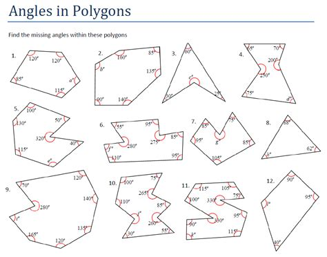 Pentagon Interior Angles by Worksheets Interior And Exterior Angles Of Polygons Worksheet Atidentity Free Worksheets