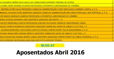 aumentos dos aposentados 2016 lista dos aposentados de abril de 2016