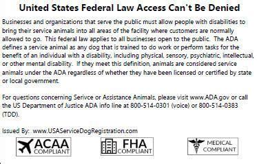 usa service registration emotional support animal id card usa service animal registration