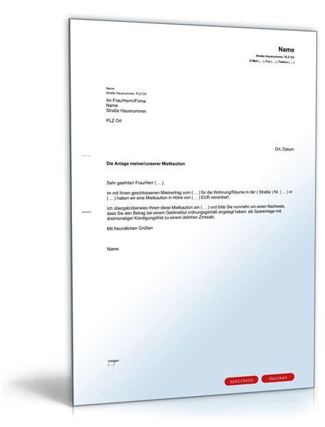 Musterbrief Kündigung Mietvertrag Mit Kaution Aufforderung Nachweis Anlage Der Mietkaution Muster Zum