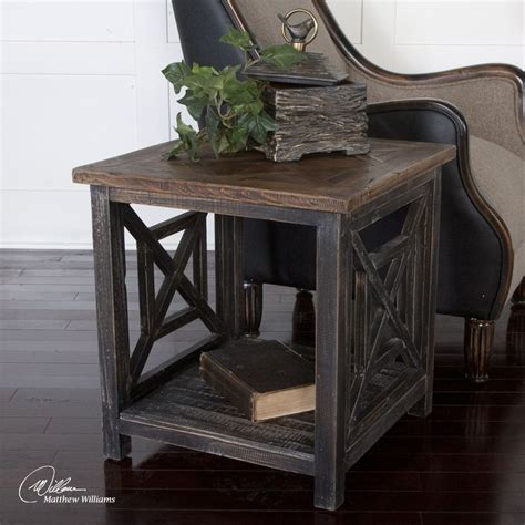 reclaimed wood accent table spiro reclaimed wood end table occasional tables pinterest