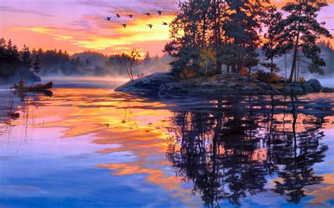 bob ross painting water reflections darrell bush paintings lakes water reflection sky