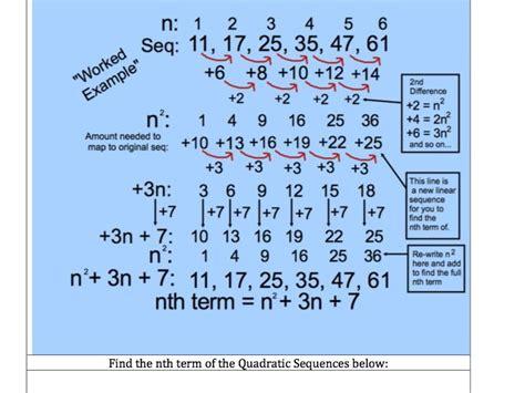 quadratic pattern questions gcse maths 10 questions quadratic sequences find the