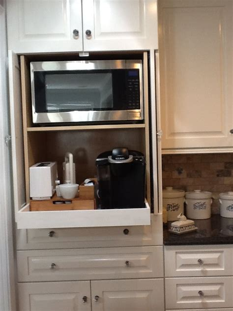 microwave in kitchen cabinet microwave and coffee station hidden in cabinet my dream