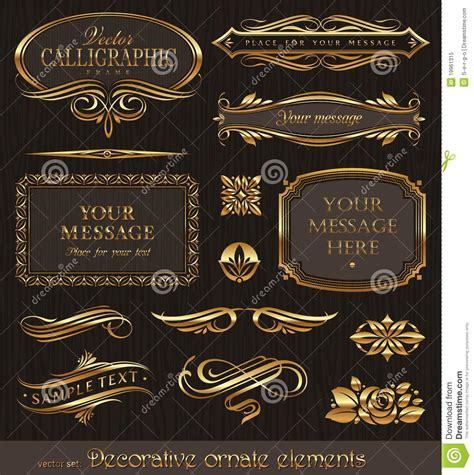 gold decorative elements vector gold framed calligraphic decorative elements for luxury