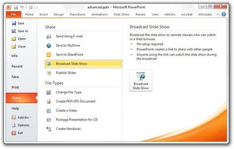 Give Live Presentations Over The Web With Powerpoint 2010 Show Powerpoint Presentations