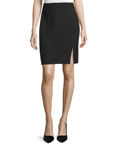Slit Pencil Skirt seamed pencil skirt with front slit in black lyst