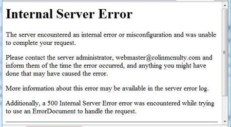 internal server error recovering from internal server errors