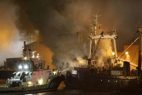 fishing boat fire nz two fires possibly still burning on korean fishing boat in