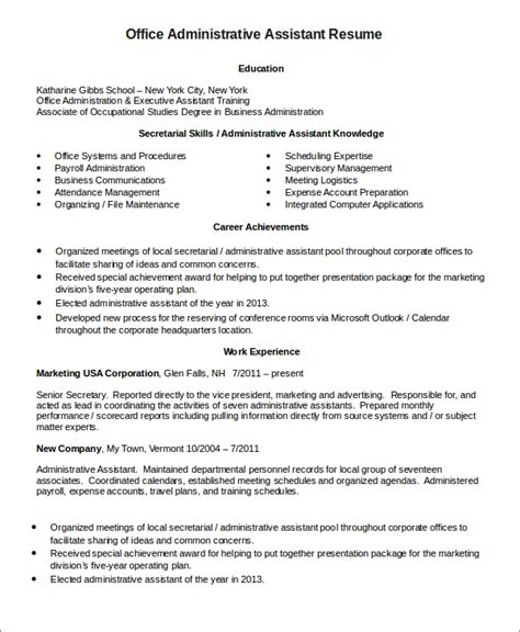Resume For Administrative Office Assistant Administrative Assistant Resume Templates 6 Free Word