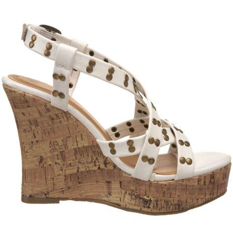 white strappy platform sandals white strappy platform wedge sandal sz 8 ebay