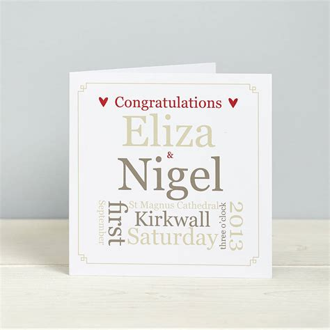 cards no photo personalized personalised wedding details card by spotty n stripy
