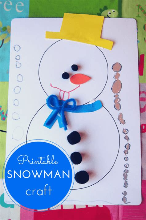 crafts free printable snowman craft for
