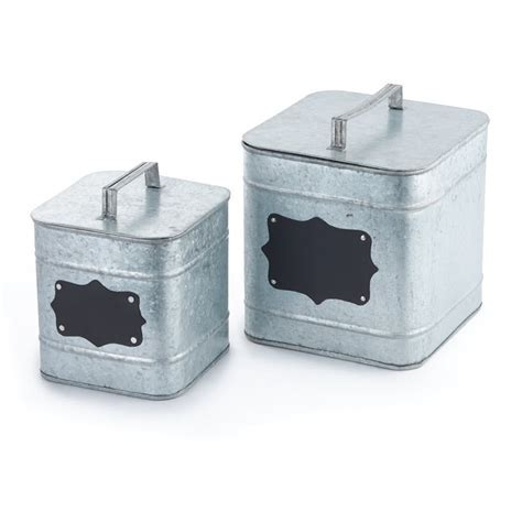 Square Galvanized Canister Set   Decorative Containers