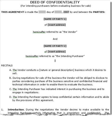 deed of sale template confidentiality agreement template confidentiality