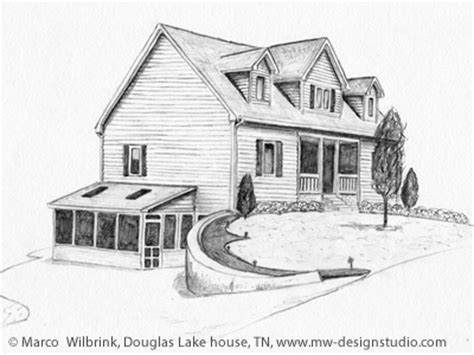 Häuser Zeichnen 3d by Douglas Lake House Pencil Drawing By Mw Design Studio