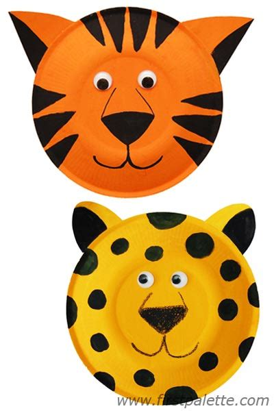 Tiger Paper Plate Craft - paper plate animals craft crafts firstpalette