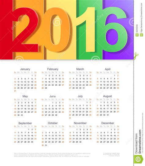 vector calendar of 2016 template design stock vector