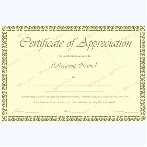 word certificate of appreciation template 89 award certificates for business and school events