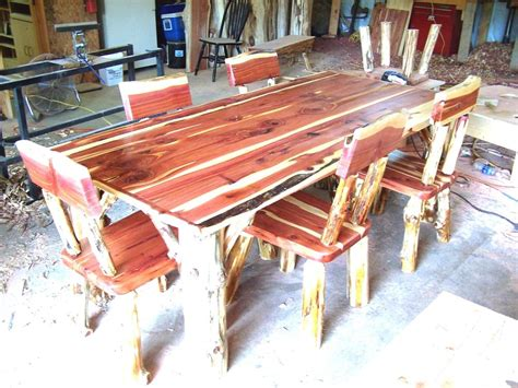 dining room set rustic cedar hancrafted log furniture