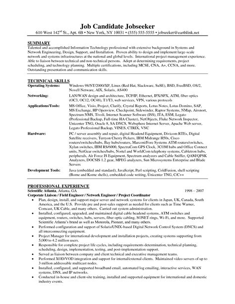 network engineer resume sle cisco bio engineering resume sales engineering lewesmr