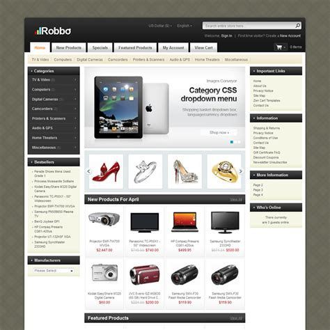 free zen cart templates robbo zencart template home electronics pc hardware