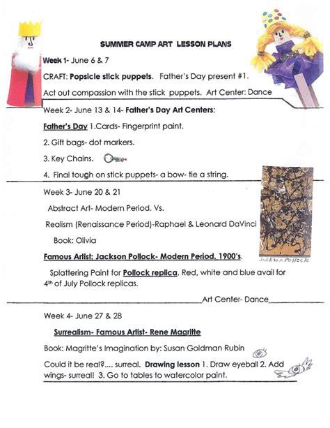 lesson plan template summer c art lesson plans for summer c
