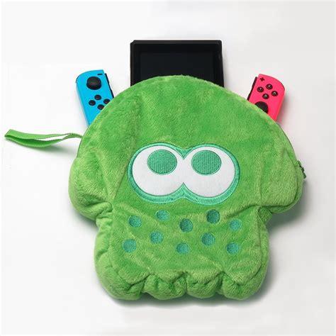 hori splatoon 2 squid plush pouch neon green for