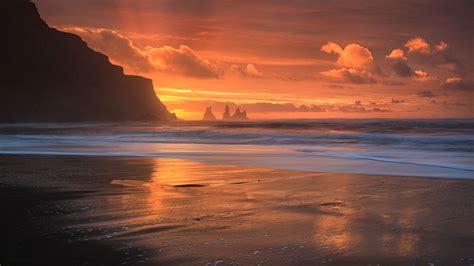 Sunset On The Sand nature landscape sunset sea rock island