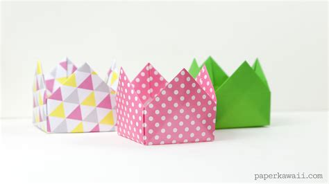 Origami Crown - origami crown box or lid paper kawaii