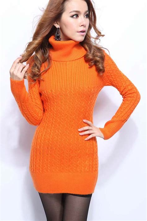 orange high collar twist long sleeves sweater dress  long