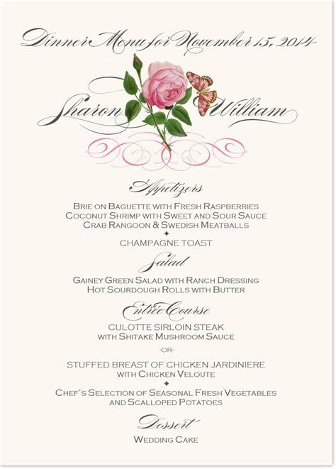 Wedding Menu Clip by Pink Tea Wedding Menu Cards Custom Wedding Reception