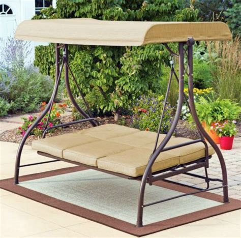 patio swing bed with canopy outdoor swing hammock rocker tan garden furniture canopy