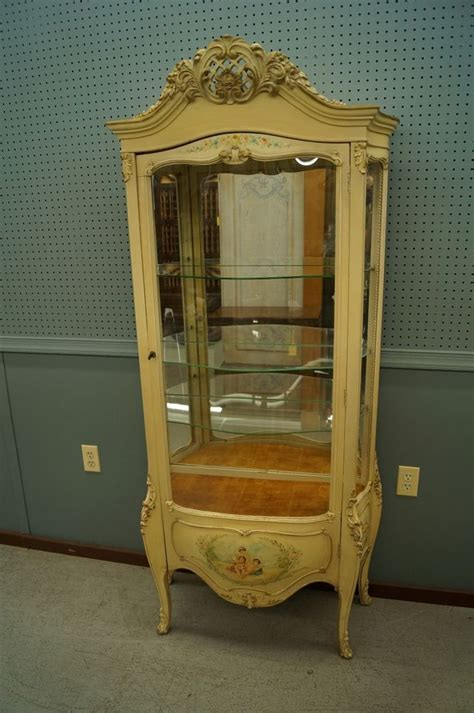 louis xvi carved curio cabinet display painted